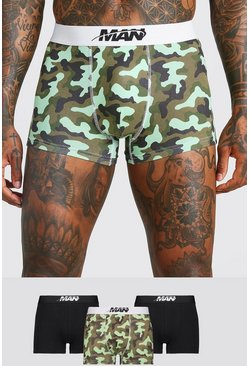 Multi 3 Pack MAN Orbit Mixed Waistband Camo Trunk