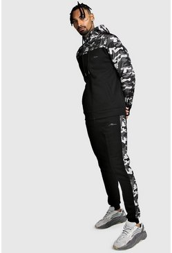 Zip Hooded Tracksuit With Nylon Camo Panels, Black