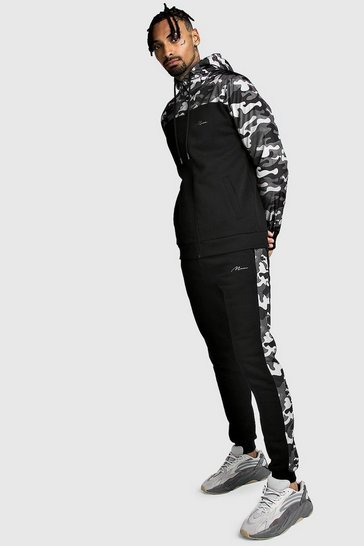 Black Zip Hooded Tracksuit With Nylon Camo Panels
