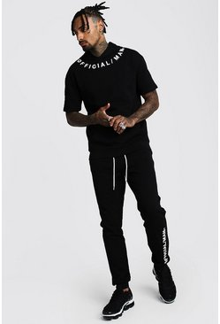 Black 3D MAN Official Drop Shoulder Hooded Tracksuit