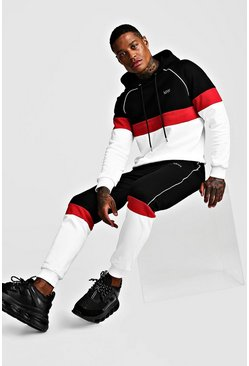 MAN Colour Block Hooded Reflective Piping Tracksuit, Black