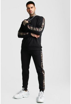 Mens Black MAN Sweater Tracksuit With Camo Panels