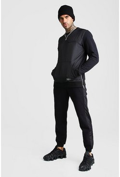 Black MAN Nylon Panelled Sweater Tracksuit With Zips