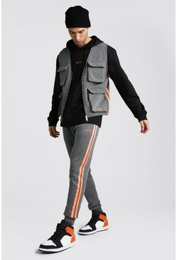MAN Utility Vest & Jogger Set With Neon Tape, Pearl
