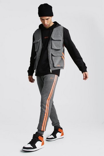 Mens Pearl MAN Utility Vest & Jogger Set With Neon Tape