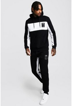 MAN Official Hooded Tracksuit With Tricot Panels, Black, HOMMES