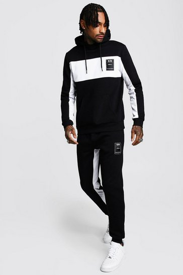 Mens Black MAN Official Hooded Tracksuit With Tricot Panels