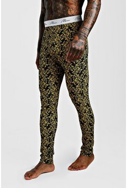 Baroque Print Meggings, Black