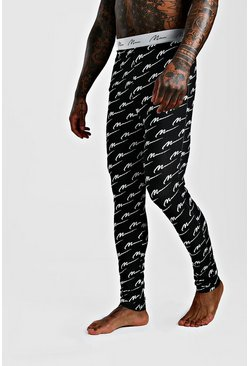 Man Script Printed Meggings, Black