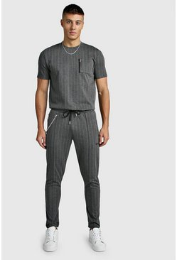 Mens Grey Smart Jacquard T-Shirt & Jogger Twinset With Chain