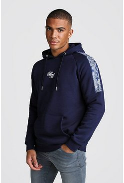 Mens Navy B&M OTH Fleece Hoodie With Printed Panels