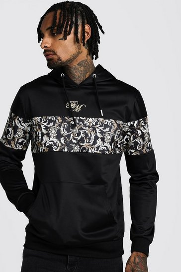 Black B&M OTH Tricot Hoodie With Baroque Panels