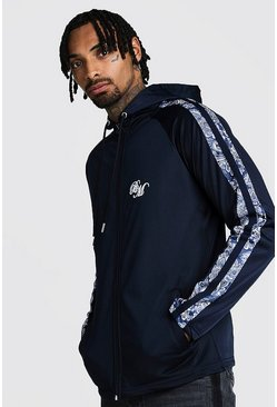 Navy B&M Zip Through Tricot Hoodie With Printed Panel