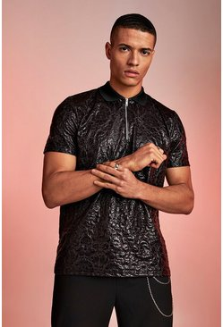 Mens Black High Shine Baroque Print Zip Polo