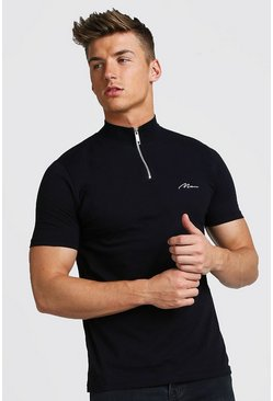 Mens Black Muscle Fit MAN Signature Turtle Neck Zip Polo