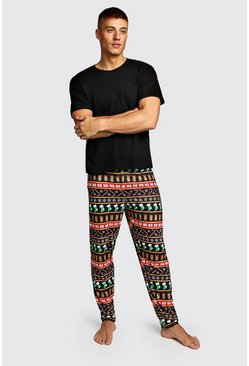 Mens Black Christmas Fairisle Print Lounge Set