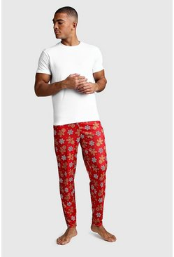 Christmas Gingerbread Man Print Lounge Set, Red