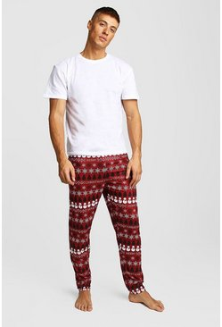 Mens Burgundy Christmas Fairisle Print Lounge Set