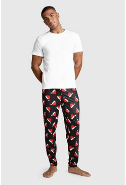 Black Christmas Santa Hat Print Lounge Set