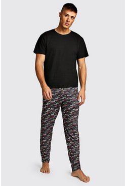 Mens Black Christmas Text Print Lounge Set