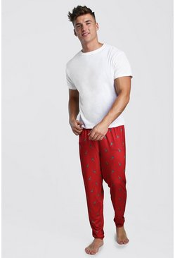 Mens Red Christmas Tree Print Lounge Set