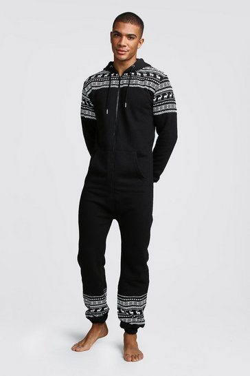Mens Black Christmas Print Onesie