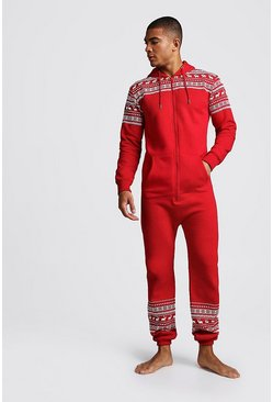 Christmas Print Onesie, Red