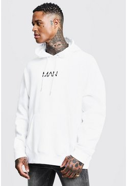 White Original MAN Print Oversized Hoodie