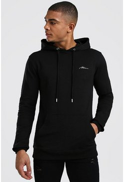 Muscle Fit MAN Signature Over The Head Hoodie, Black