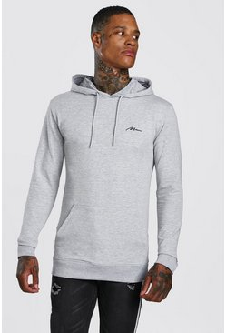 Grey Muscle Fit MAN Signature Over The Head Hoodie