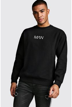Mens Black Original MAN Crew Neck Sweatshirt