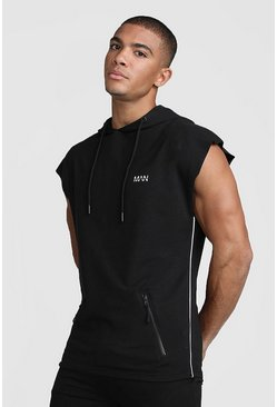 Black MAN Active Sleeveless Gym Reflective Detail Hoodie
