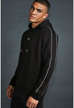 Mens Black MAN Active Hoodie With Reflective Piping