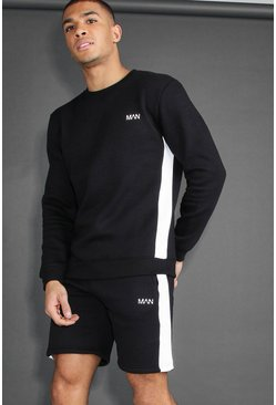 MAN Active Skinny Fit Short Tracksuit, Black