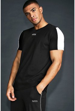 Mens Black MAN Active T-Shirt With Panels