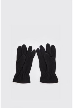 Mens Black Polar Fleece Gloves