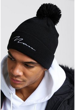 Black MAN Script Embroidered Bobble Beanie