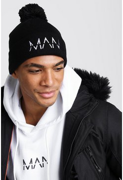MAN Embroidered Bobble Beanie, Black, HOMBRE