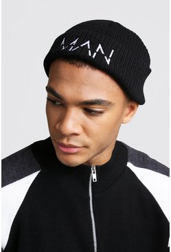 Mens Black White Embroidery MAN Fisherman Beanie