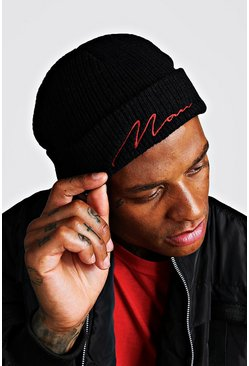 Mens Black Red Embroidery MAN Script Fisherman Beanie
