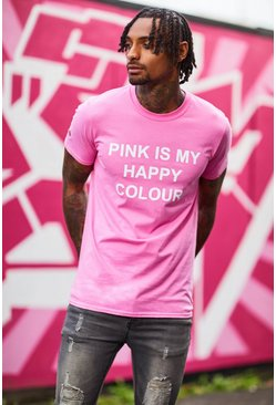 Mens Pink My Happy Colour Charity T-Shirt
