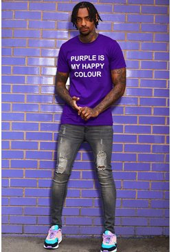 Mens Purple My Happy Colour Charity T-Shirt