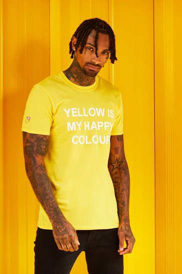 Mens Yellow My Happy Colour Charity T-Shirt