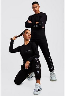 Womens Black Hers Crew Neck Bodysuit & Jogger Set