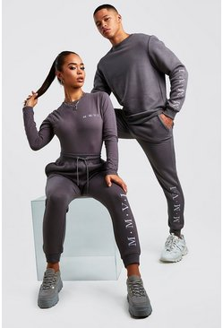 Hers Funnel Neck Bodysuit & Jogger Set, Charcoal
