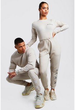 Hers Funnel Neck Bodysuit & Jogger Set, Stone, ЖЕНСКОЕ