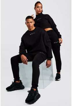 Black Hers Crop Sweat & Cargo Jogger Set