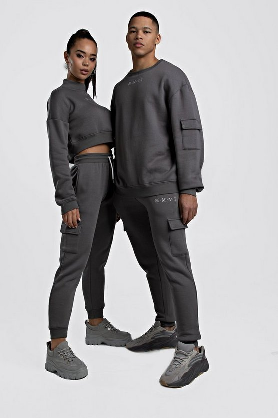 Charcoal Hers Crop Sweat & Cargo Jogger Set