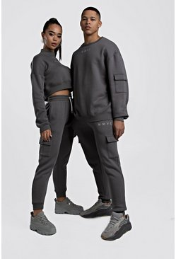 Womens Charcoal Hers Crop Sweat & Cargo Jogger Set
