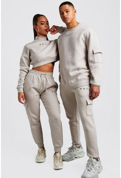 Stone Hers Crop Sweat & Cargo Jogger Set